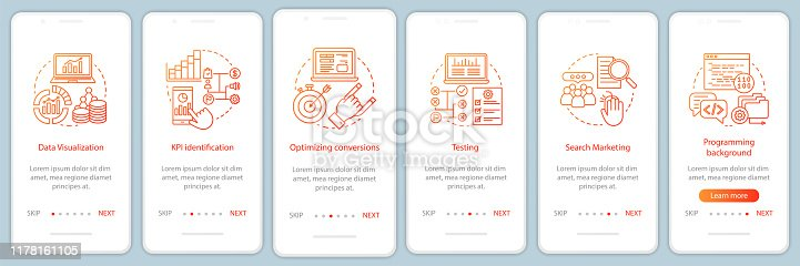 Business metrics courses onboarding mobile app page screen vector template. Marketing and advertising statistics. Walkthrough website steps. Business development tool. UX, UI, GUI smartphone interface