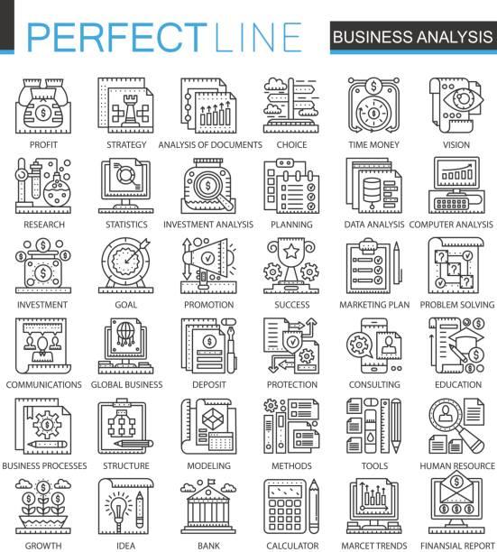 geschäftsanalysen umreißen mini konzept-symbole. business-strategie modernen linearen stil illustrationen strichsatz. perfekte dünne linie symbole. - forschungsurlaub stock-grafiken, -clipart, -cartoons und -symbole