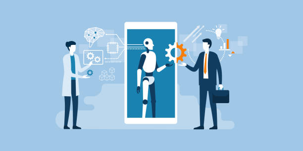 Business and AI technology Scientist, AI robot and businessman working together: artificial technology, engineering and business concept machine learning stock illustrations