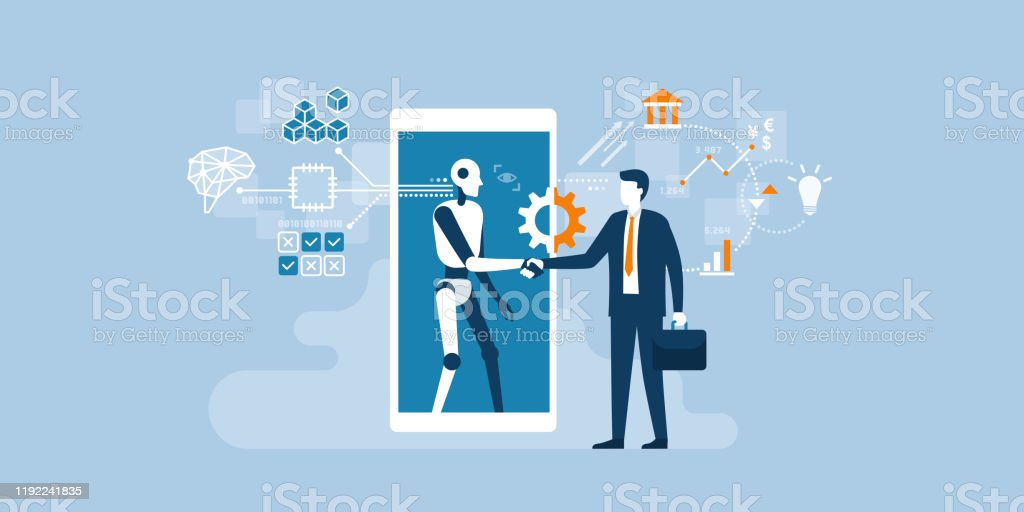 Business and AI technology Businessman and AI robot shaking hands and cooperating together for a common goal Adult stock vector