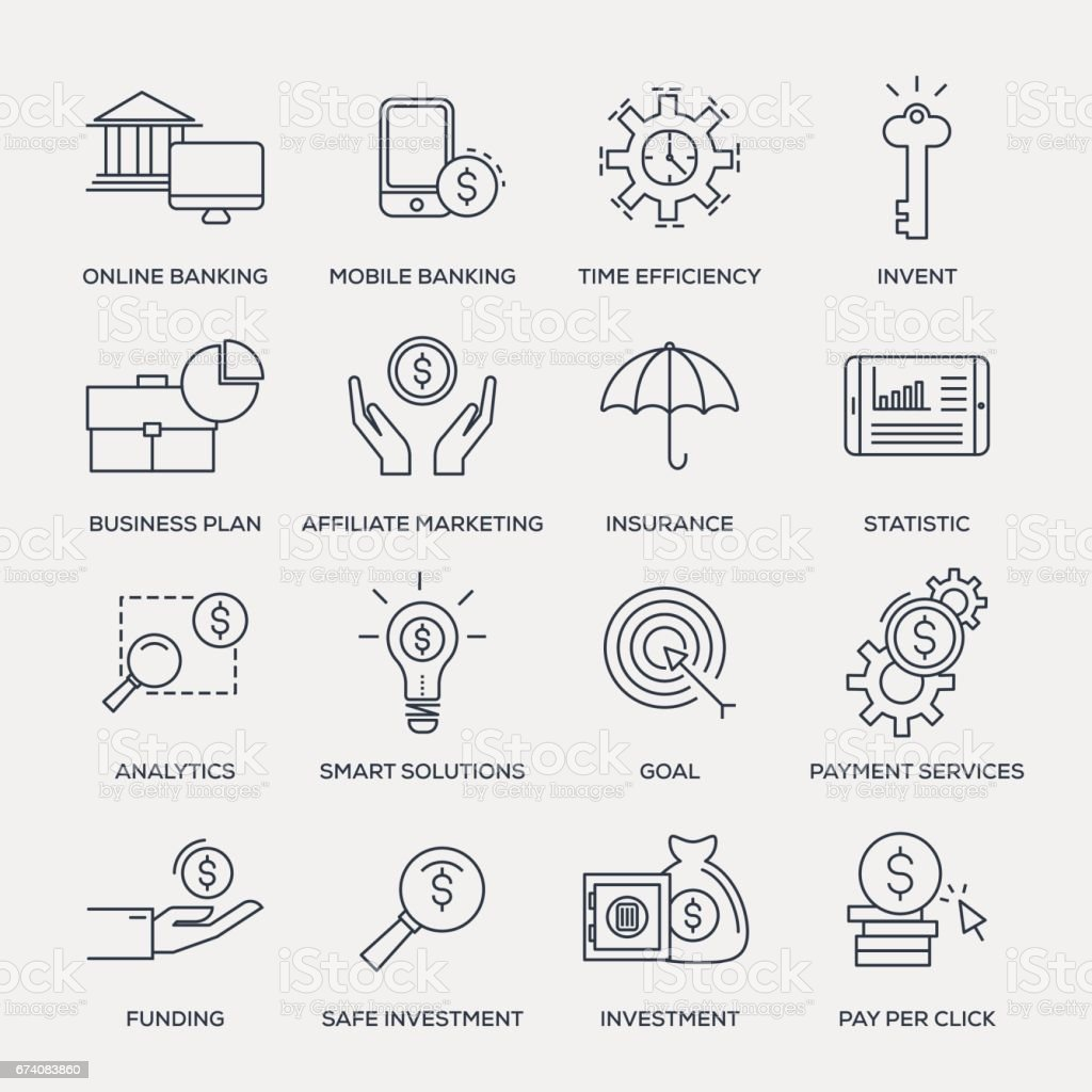 Business and Banking Icon Set - Line Series vector art illustration