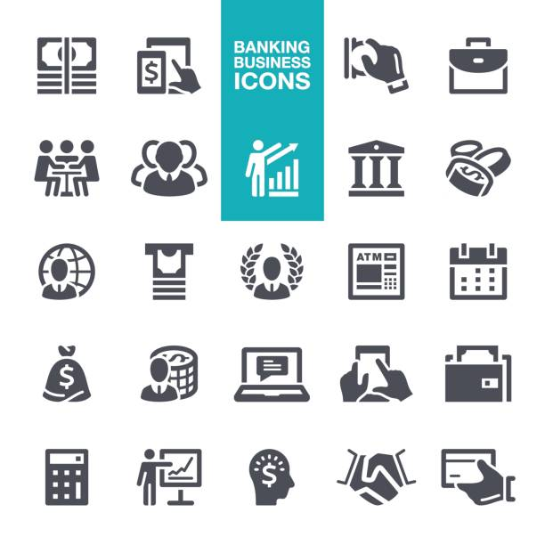 business and banking  icons - accountant stock illustrations, clip art, cartoons, & icons