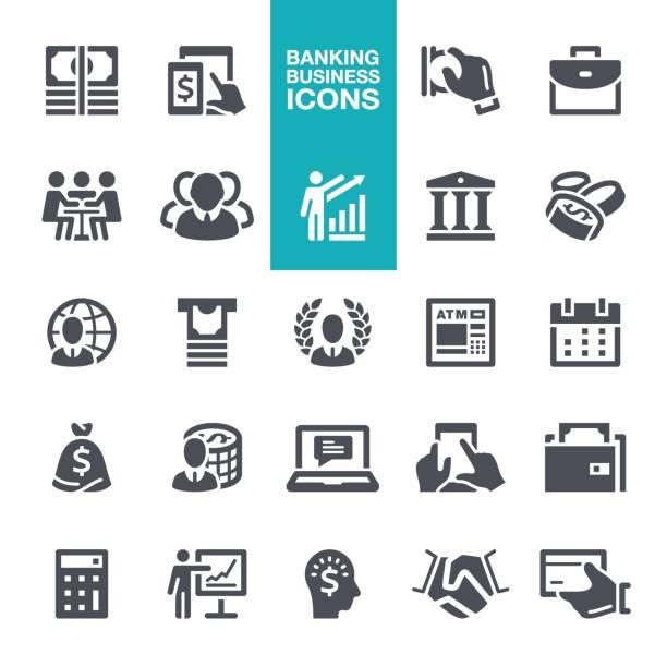 ilustraciones, imágenes clip art, dibujos animados e iconos de stock de negocios y banca los iconos - asesor financiero