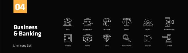 unternehmen und banken linie icons set - webdesigner grafiken stock-grafiken, -clipart, -cartoons und -symbole