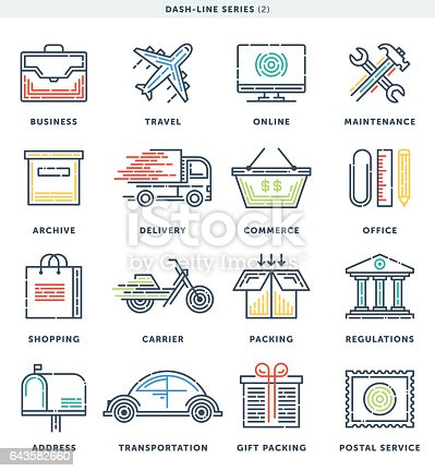 istock Business And Commerce Dash Line Icons 643582660