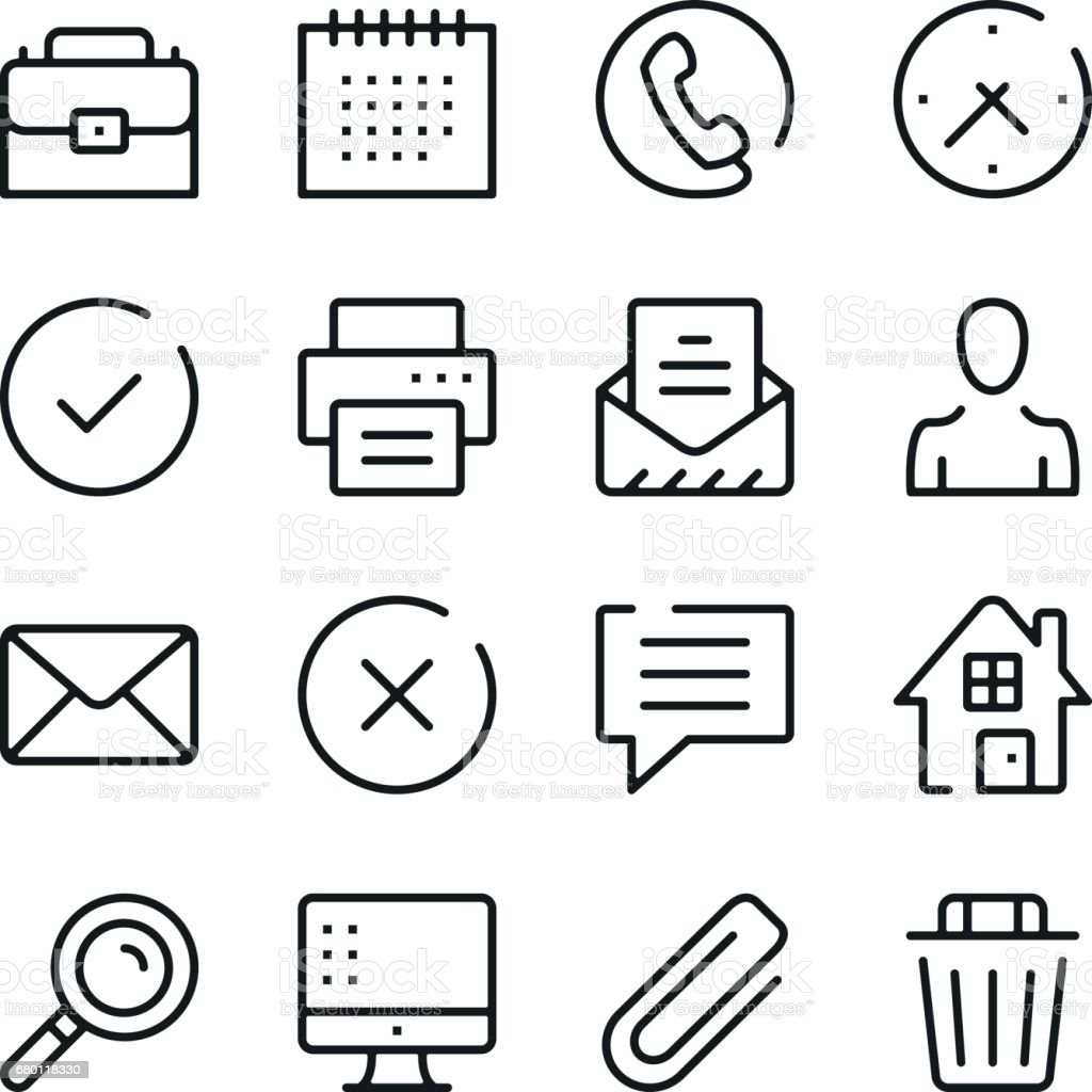 Business and communication line icons set. Modern graphic design concepts, simple outline elements collection. Vector line icons vector art illustration