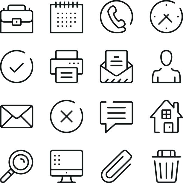 business and communication line icons set. modern graphic design concepts, simple outline elements collection. vector line icons - оттиск stock illustrations