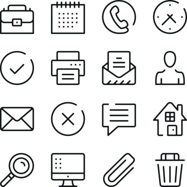 商業和通信線圖示設置。現代平面設計的概念,簡單的大綱元素集合。向量線圖示 - 版畫 幅插畫檔、美工圖案、卡通及圖標
