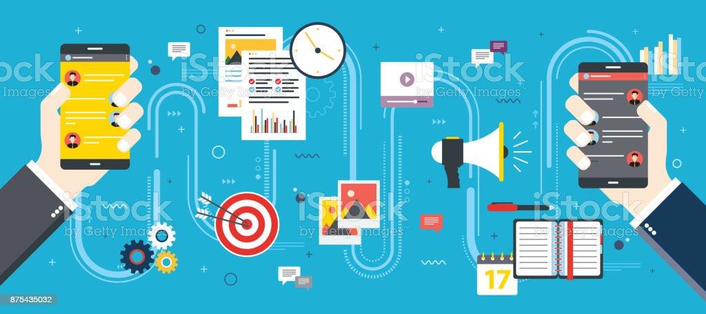Negocio y comunicación, redes sociales e internet. - ilustración de arte vectorial