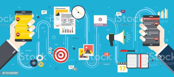 Business And Communication Social Media And Internet Stock Illustration - Download Image Now