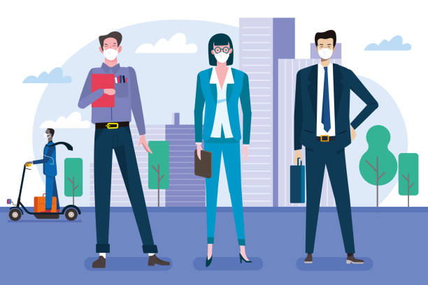 illustrazioni stock, clip art, cartoni animati e icone di tendenza di business and coronavirus - businessman covid mask