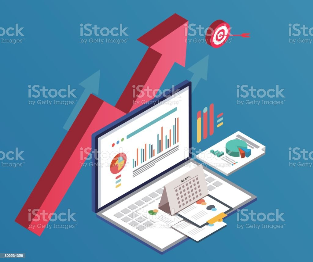Business and data charts vector art illustration