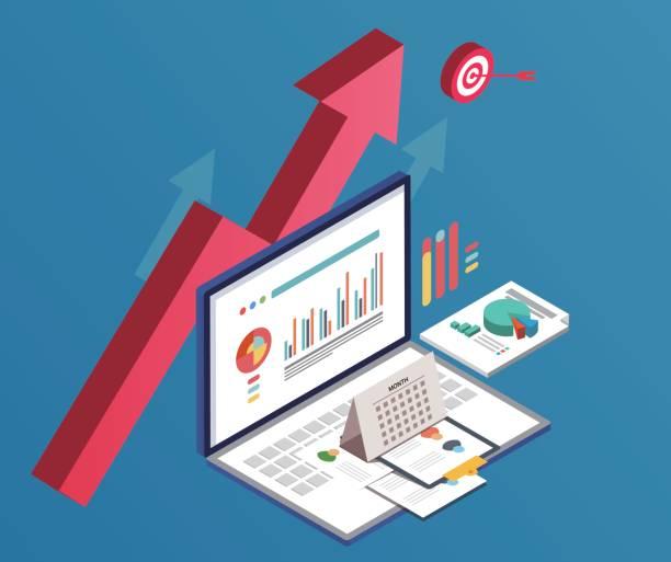 stockillustraties, clipart, cartoons en iconen met zakelijke en gegevens grafieken - aandelen