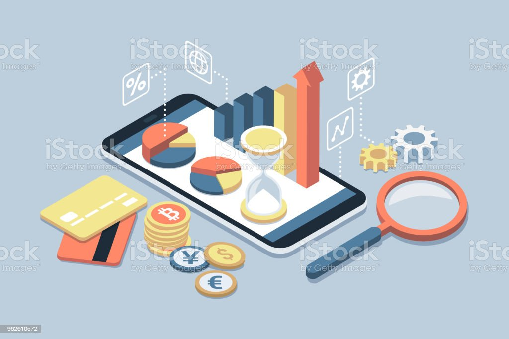 Business and finance app on a smartphone vector art illustration