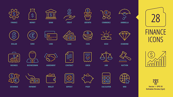 Business and finance editable stroke line icon set on a dark violet background with money, bank, piggy, credit, exchange, deposit, law, dollar, euro, coin, card, currency, handshake outline symbols.