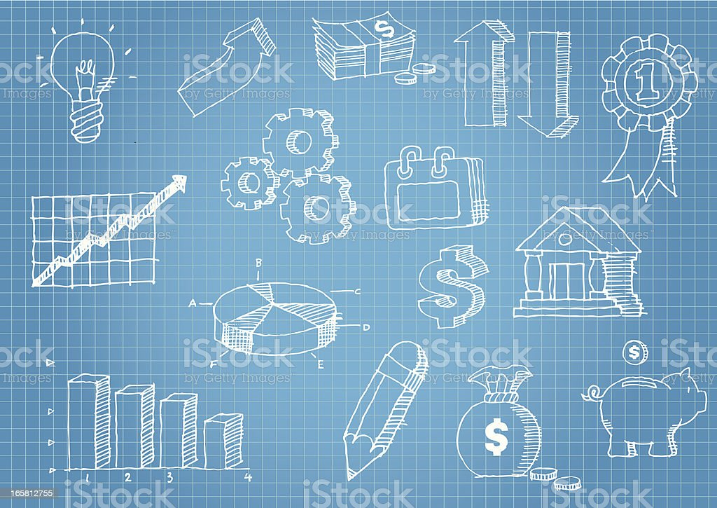 Business and finance hand drawn icons on blue graph paper royalty-free business and finance hand drawn icons on blue graph paper stock vector art & more images of arrow symbol