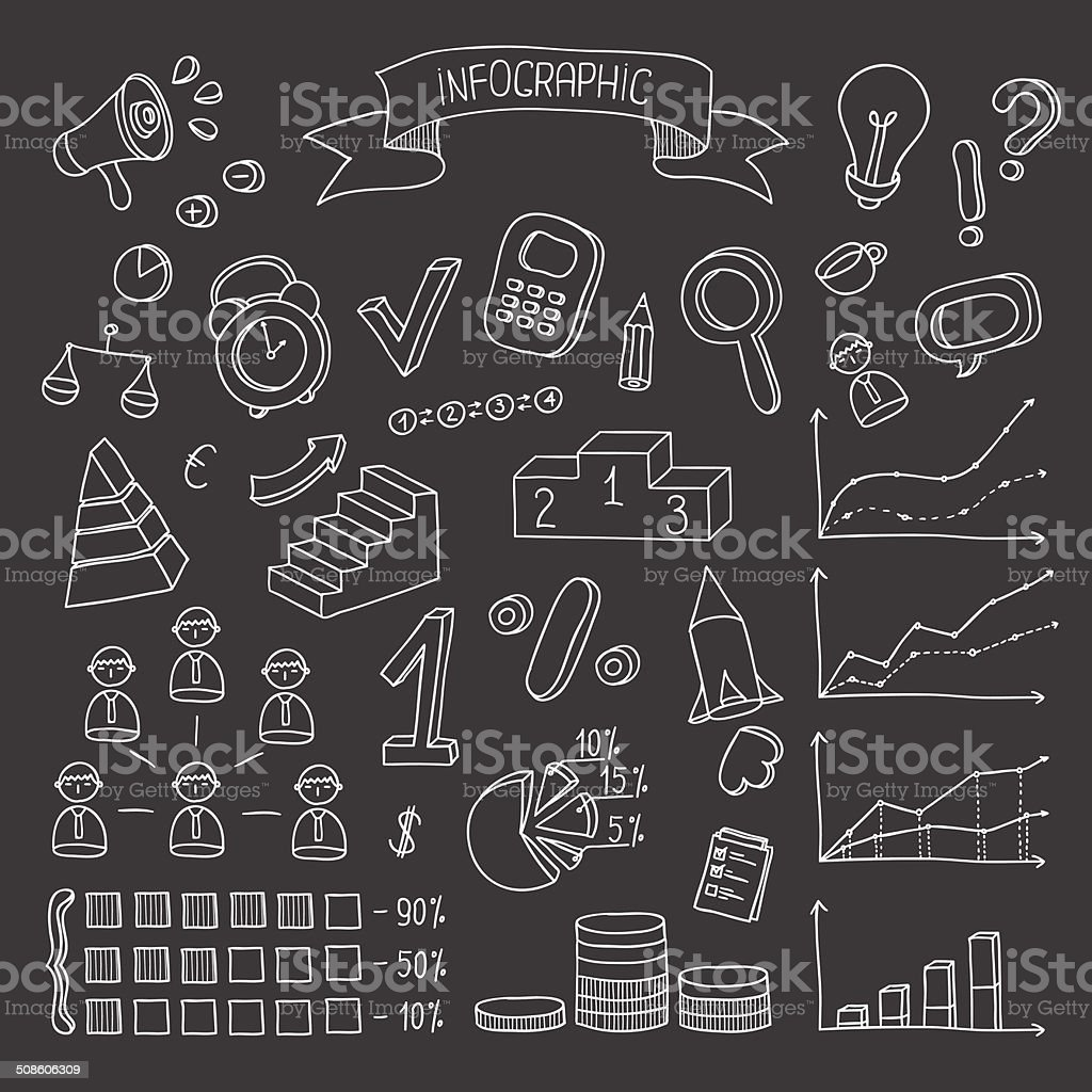 Business and finance hand drawn infographic design elements. royalty-free stock vector art