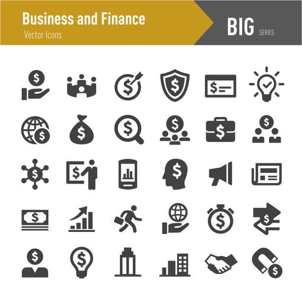 ilustraciones, imágenes clip art, dibujos animados e iconos de stock de negocios y finanzas icono - grandes series - planificación financiera