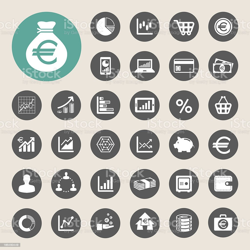 Business and finance icon set. vector art illustration