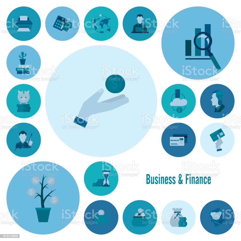 Finance Icon Set: Business And Finance Icon Set Stock Vector Art 610415606