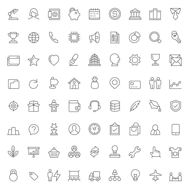 Business and finance icon set Business and finance icon set conceptual symbol stock illustrations