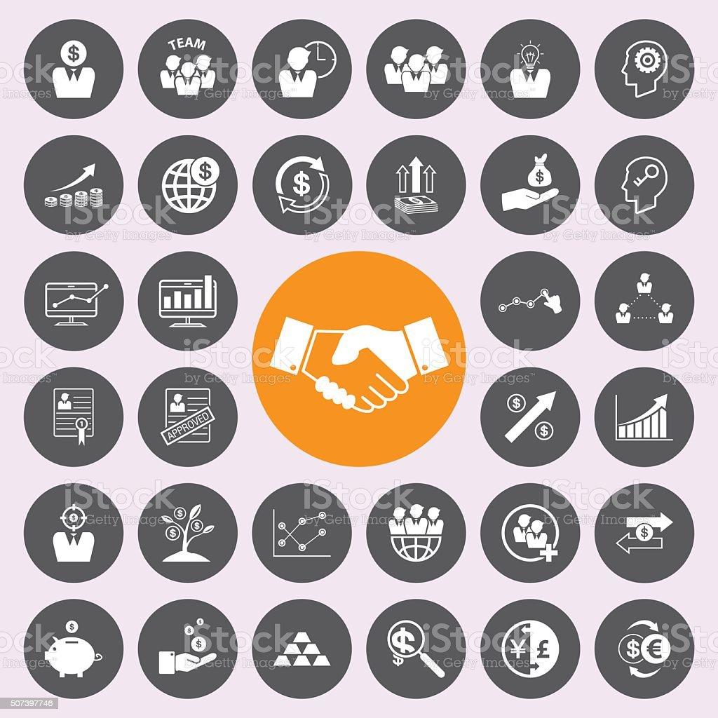 Iconos de negocios y finanzas icono de conjunto. - ilustración de arte vectorial