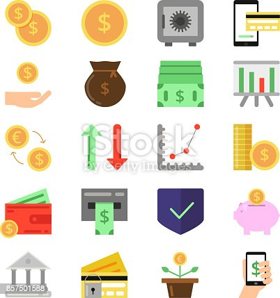 Business and finance icons set. B2c and b2b symbols. Pictures of money and coins. Finance money, coin and cash currency. Vector illustration