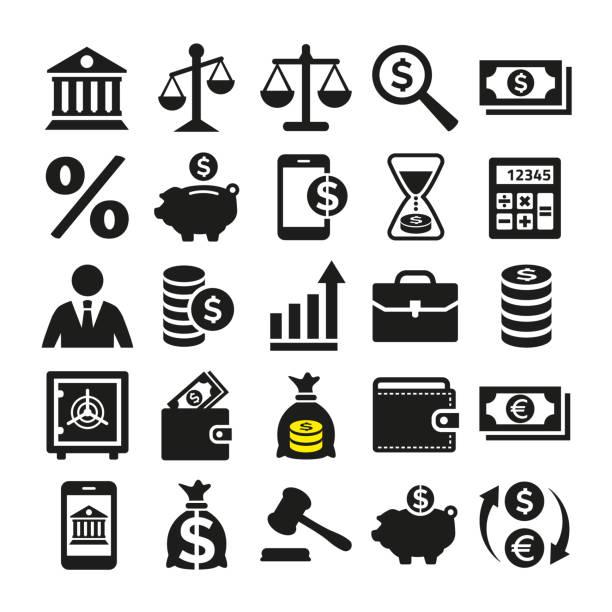 ilustrações, clipart, desenhos animados e ícones de ícones do negócio e da finança ajustados no fundo branco. - banco edifício financeiro
