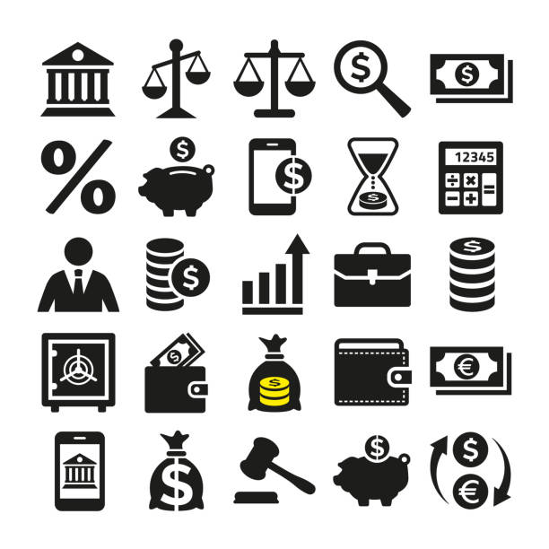 business and finance icons set on white background. - bank stock illustrations