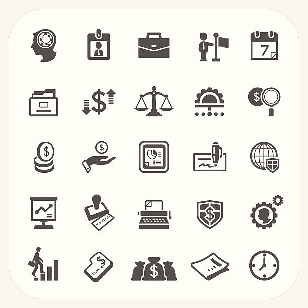 비즈니스 및 재무 아이콘 세트 - 인간 속성 stock illustrations