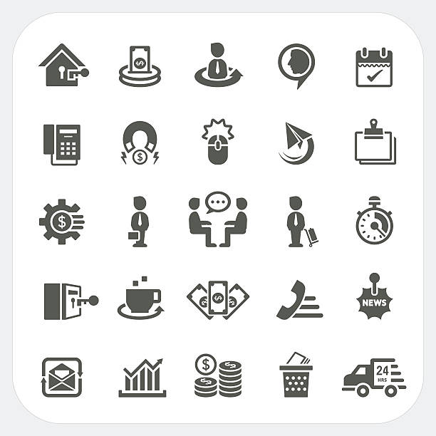 Business and finance icons set Business and finance icons set, EPS10, Don't use transparency. security equipment stock illustrations