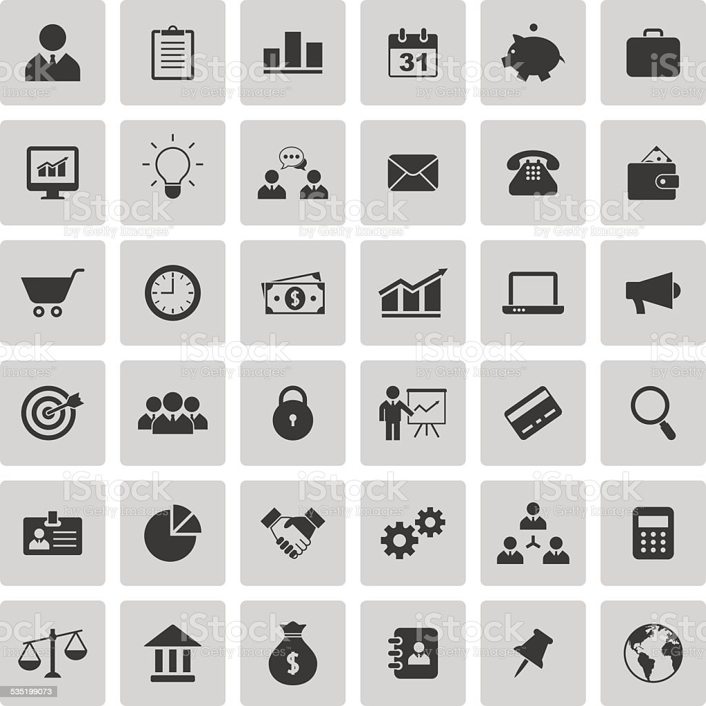 Business and finance icons set vector art illustration