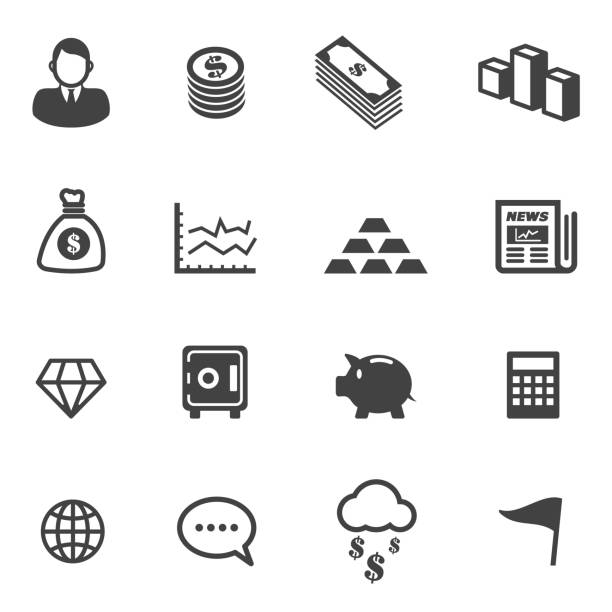 stockillustraties, clipart, cartoons en iconen met business and finance icons - brandkast beveiligingsapparatuur
