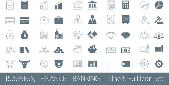 Business and Finance - Line and Fill Icon Set
