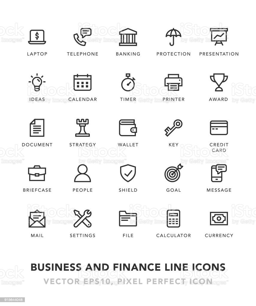 Business and Finance Line Icons vector art illustration