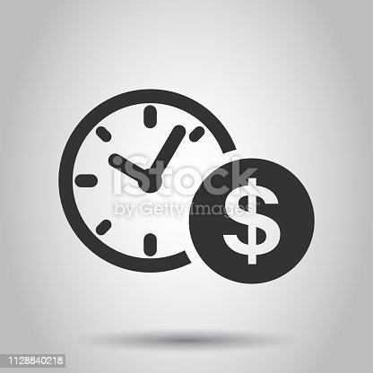 Business and finance management icon in flat style. Time is money illustration on white background. Financial strategy business concept.