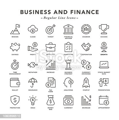 Business and Finance - Regular Line Icons - Vector EPS 10 File, Pixel Perfect 30 Icons.