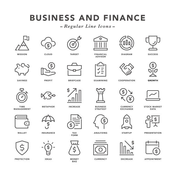 Business and Finance - Regular Line Icons Business and Finance - Regular Line Icons - Vector EPS 10 File, Pixel Perfect 30 Icons. budget symbols stock illustrations