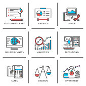 Flat line icons set of business planning process, company accounting organization, big data analytics, corporate taxes optimization. Modern trend design style vector concept. Isolated on white background.