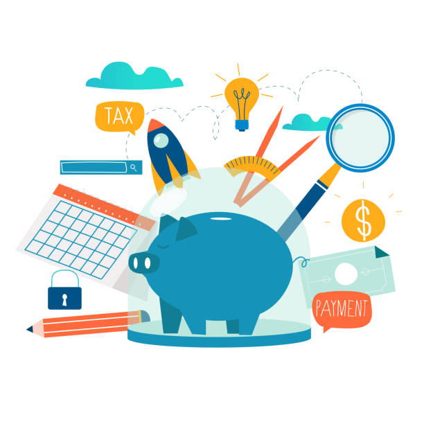 Business and finance services, money loan and budget planning vector art illustration