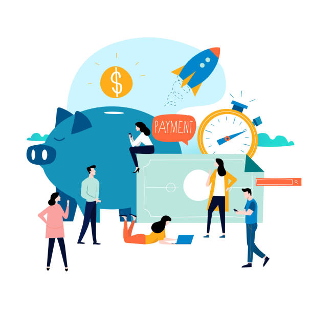 Business and finance services, money loan, budget planning vector art illustration