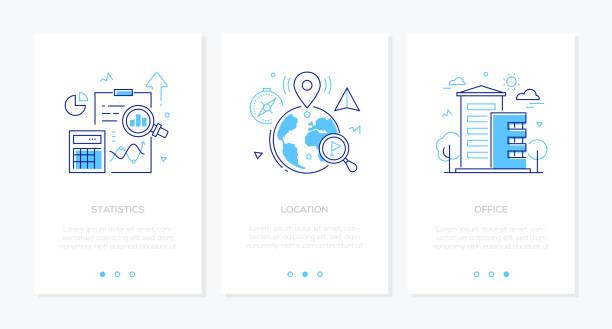 Business und Finanzen-Satz von Linie Design Stil vertikale Webbanner – Vektorgrafik