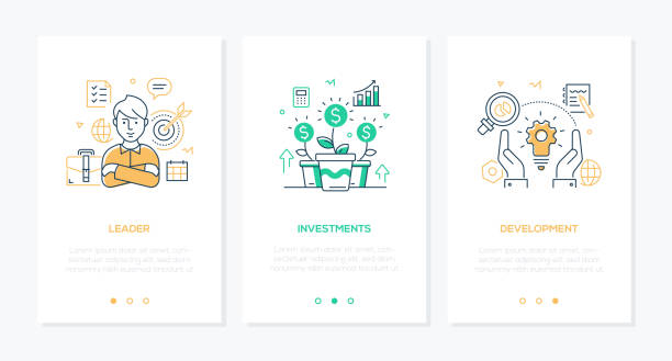 Business and finance - set of line design style vertical web banners vector art illustration
