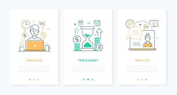 Business und Finanzen - Satz von Liniendesign Stil vertikale Web-Banner – Vektorgrafik