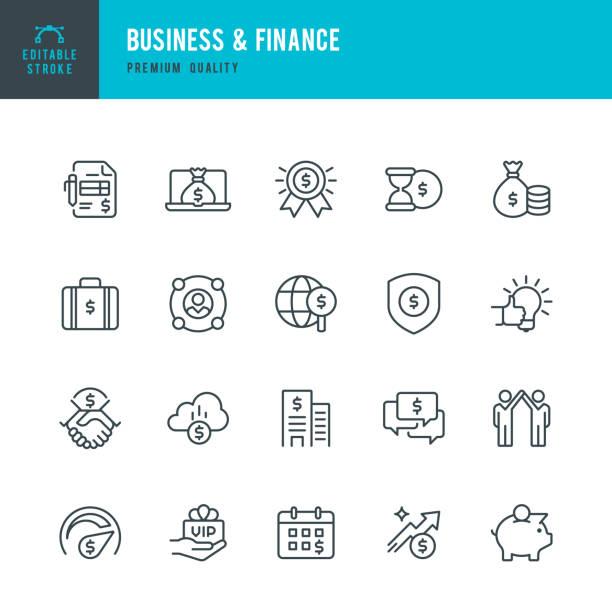 Wirtschaft und Finanzen - set dünne Linie Vektor-icons – Vektorgrafik
