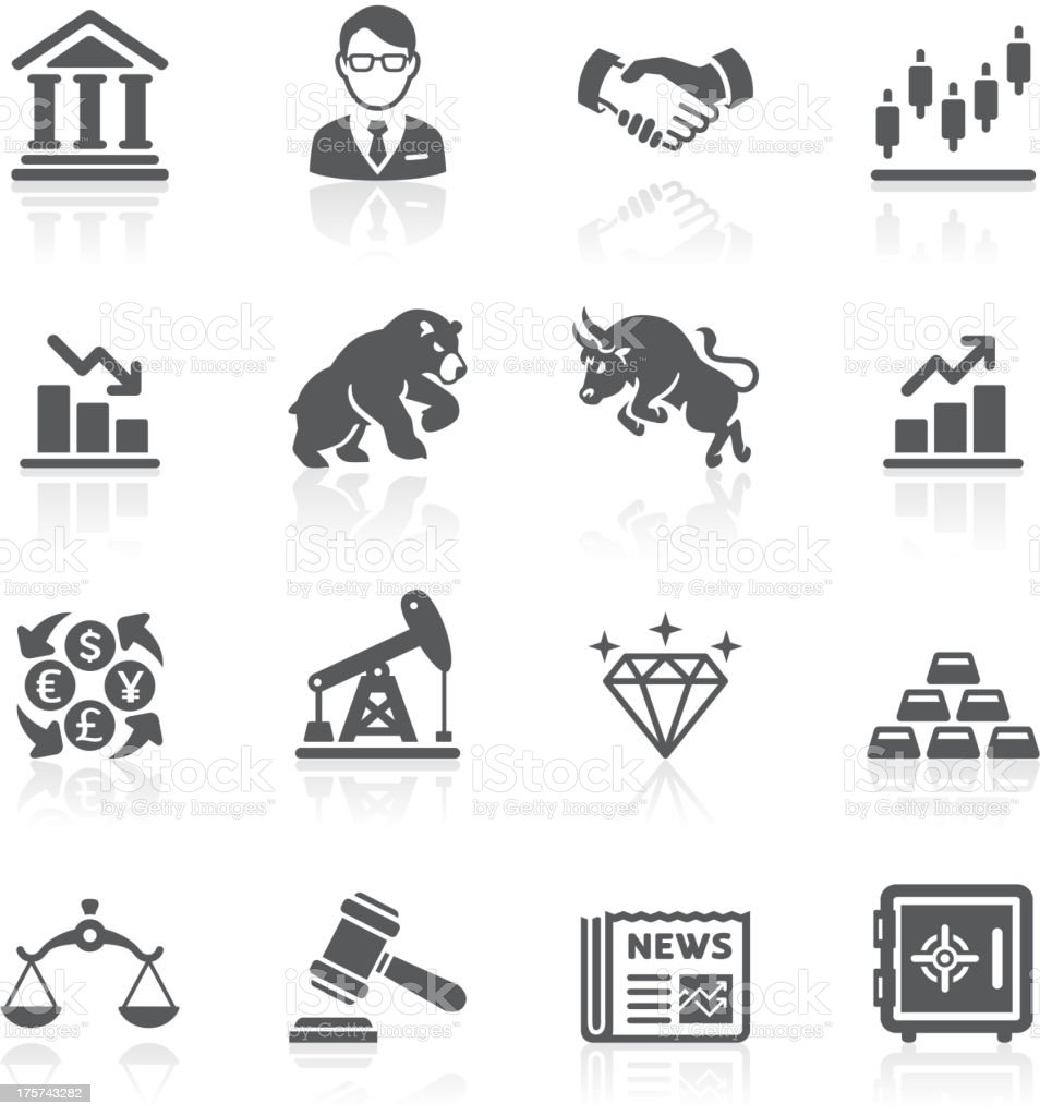 Business and finance stock exchange icons. vector art illustration