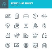 Set of Business and Finance thin line vector icons.