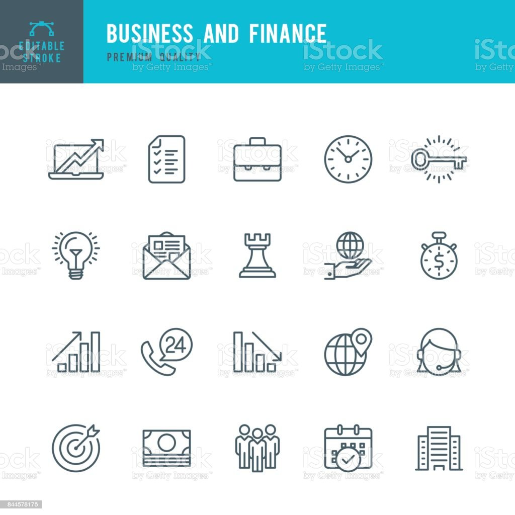 Business and Finance  - Thin Line Icon Set vector art illustration