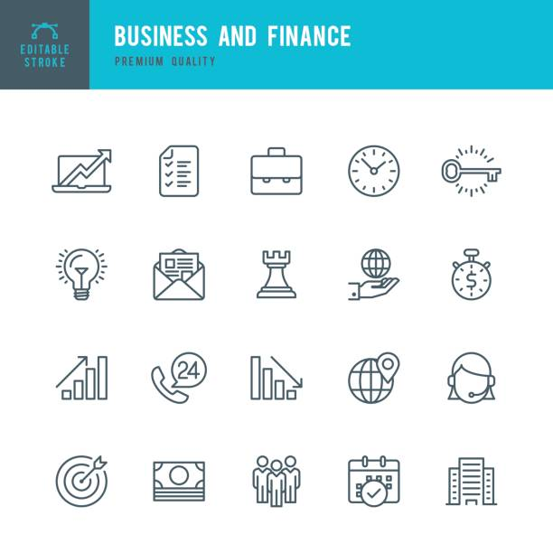 business and finance  - thin line icon set - business icons stock illustrations, clip art, cartoons, & icons