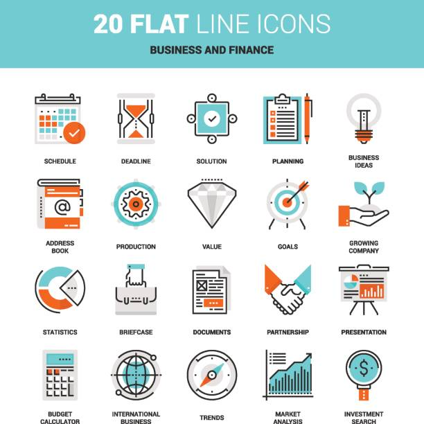 Business and Finance Vector set of business and finance flat line web icons. Each icon with adjustable strokes neatly designed on pixel perfect 64X64 size grid. Fully editable and easy to use. budget designs stock illustrations